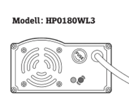 Opladen met lader model HP0180WL3