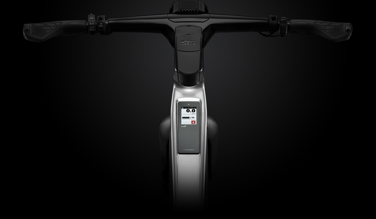 Components of the fully integrated Blubrake anti-lock braking system on the Stromer ST5 ABS: The ABS status is shown via the Stromer OMNI.